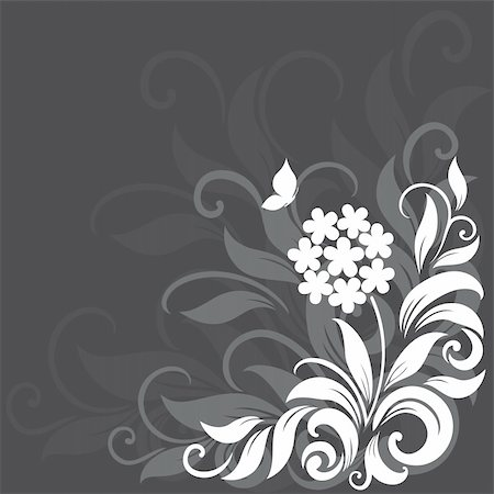 Decorative floral background with grass, flowers and butterfly Stock Photo - Budget Royalty-Free & Subscription, Code: 400-06355566