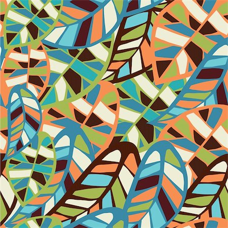 Abstract colorful leaves seamless pattern background. Vector file layered for easy manipulation and coloring. Stock Photo - Budget Royalty-Free & Subscription, Code: 400-06355833