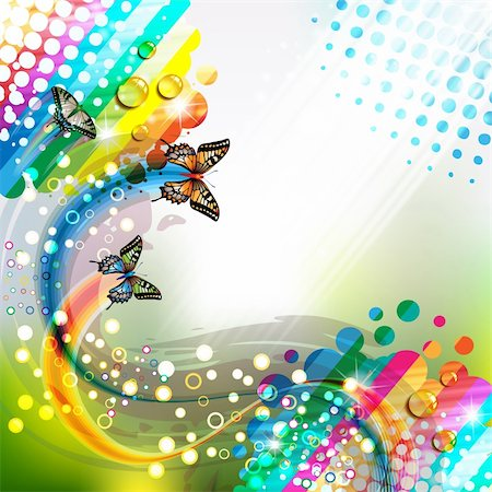 Colorful abstract background with butterflies Stock Photo - Budget Royalty-Free & Subscription, Code: 400-06355883