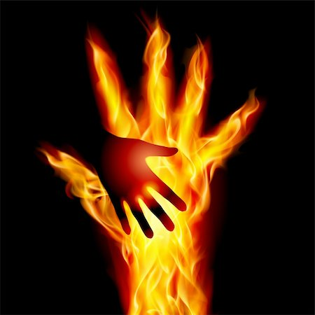 Burning helping hand. Illustration for design on black background Stock Photo - Budget Royalty-Free & Subscription, Code: 400-06356424