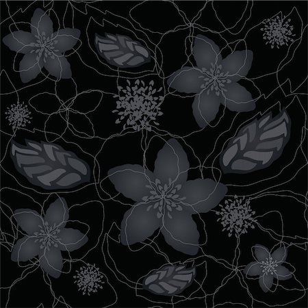 Seamless black and silver floral wallpaper. This image is a vector illustration. Stock Photo - Budget Royalty-Free & Subscription, Code: 400-06356654