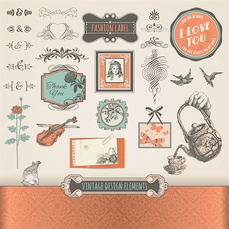 Set of vector vintage elements and labels Stock Photo - Budget Royalty-Free & Subscription, Code: 400-06357457