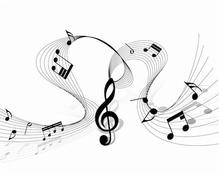 picture of music staff with notes - Vector musical notes staff background for design use Stock Photo - Budget Royalty-Free & Subscription, Code: 400-06357626