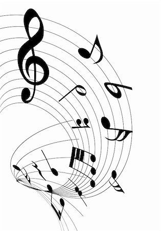 Vector musical notes staff background for design use Stock Photo - Budget Royalty-Free & Subscription, Code: 400-06357628