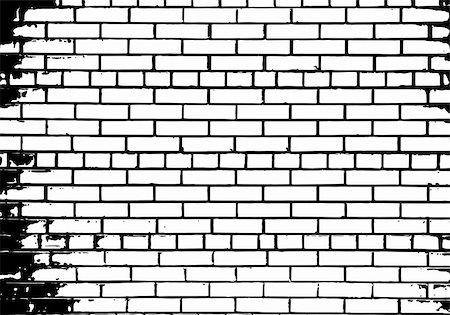 Grunge white and black brick wall background. Vector illustration. Stock Photo - Budget Royalty-Free & Subscription, Code: 400-06358854