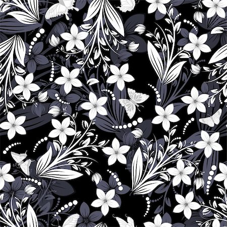 Seamless vector floral pattern. For easy making seamless pattern just drag all group into swatches bar, and use it for filling any contours. Stock Photo - Budget Royalty-Free & Subscription, Code: 400-06358863