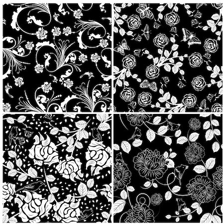 seamless floral - Seamless vector floral pattern. For easy making seamless pattern just drag all group into swatches bar, and use it for filling any contours. Stock Photo - Budget Royalty-Free & Subscription, Code: 400-06359194