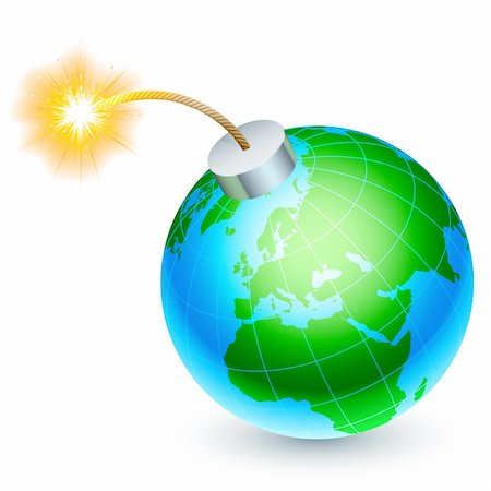 spark vector - Cartoon bomb in the form of Earth, ready to explode. Stock Photo - Budget Royalty-Free & Subscription, Code: 400-06364165