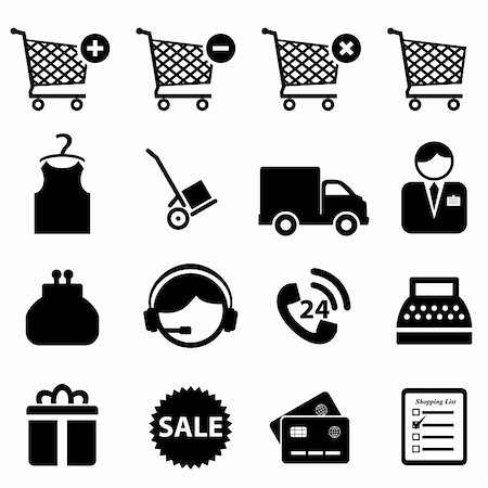soleilc (artist) - Shopping icon set on white background Stock Photo - Budget Royalty-Free & Subscription, Code: 400-06365208