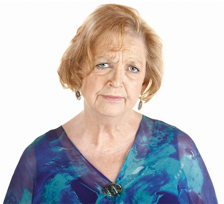 sleepy old woman - Sad elderly European woman in blue over white background Stock Photo - Budget Royalty-Free & Subscription, Code: 400-06366246