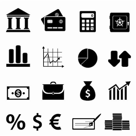 soleilc (artist) - Finance, business and banking icon set Stock Photo - Budget Royalty-Free & Subscription, Code: 400-06366641