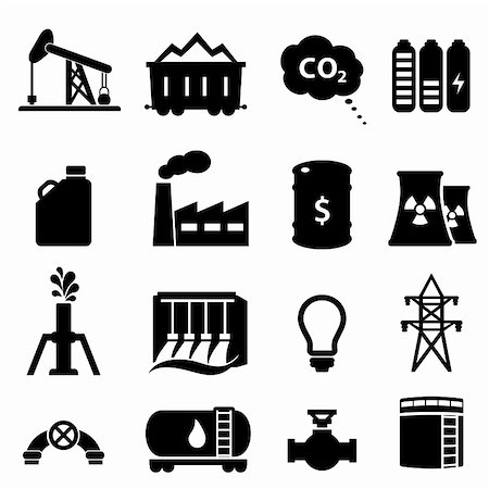 soleilc (artist) - Oil and energy icon set in black Stock Photo - Budget Royalty-Free & Subscription, Code: 400-06367232