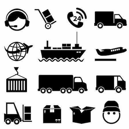 soleilc (artist) - Shipping and cargo icon set in black Stock Photo - Budget Royalty-Free & Subscription, Code: 400-06367543