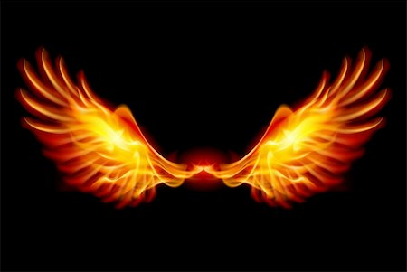 Wings in Flame and Fire. Illustration on black Stock Photo - Budget Royalty-Free & Subscription, Code: 400-06360196