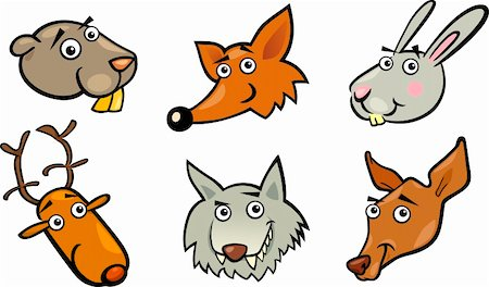 Cartoon Illustration of Different Funny Forest Animals Heads Set: Beaver, Fox, Rabbit or Hare, Deer, Wolf and Doe or Roe Stock Photo - Budget Royalty-Free & Subscription, Code: 400-06360358