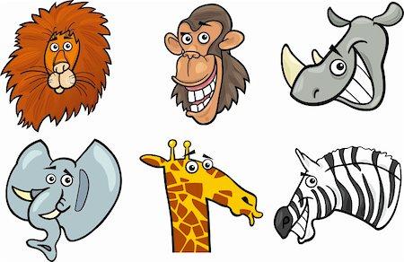 smiling chimpanzee - Cartoon Illustration of Different Funny Wild Animals Heads Set: Lion, Chimp, Rhino, Elephant, Giraffe and Zebra Stock Photo - Budget Royalty-Free & Subscription, Code: 400-06360361