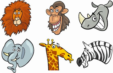 smiling chimpanzee - Cartoon Illustration of Different Funny Wild Animals Heads Set: Lion, Chimp, Rhino, Elephant, Giraffe and Zebra Stock Photo - Budget Royalty-Free & Subscription, Code: 400-06360361