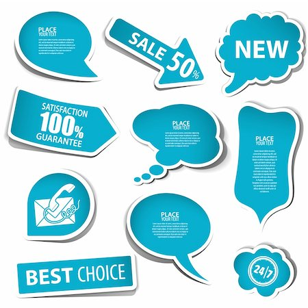 Set of speech and thought bubbles, element for design, vector illustration Stock Photo - Budget Royalty-Free & Subscription, Code: 400-06360794