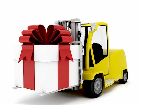 yellow truck transporting a large gift with red bow Stock Photo - Budget Royalty-Free & Subscription, Code: 400-06361541