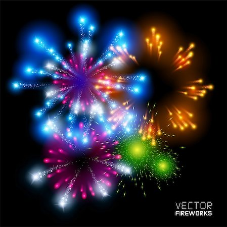 firework illustration - Beautiful Vector Fireworks, on a black background. Stock Photo - Budget Royalty-Free & Subscription, Code: 400-06363838