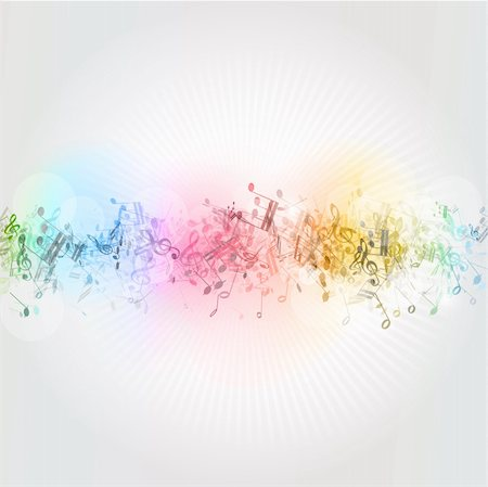 Abstract design background with colourful music notes Stock Photo - Budget Royalty-Free & Subscription, Code: 400-06384291
