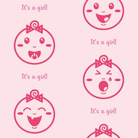Cute baby girl pattern, wallpaper Stock Photo - Budget Royalty-Free & Subscription, Code: 400-06384617