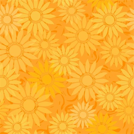 seamless floral - vector seamless sunflowers orange abstract pattern background Stock Photo - Budget Royalty-Free & Subscription, Code: 400-06384786