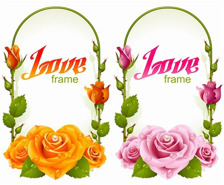 Vector rose frames. Wedding, Birthday or Valentine day vertical banners isolated on white background Stock Photo - Budget Royalty-Free & Subscription, Code: 400-06385068