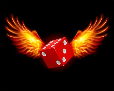 Dice-Fiery wings, a color illustration on a black background Stock Photo - Budget Royalty-Free & Subscription, Code: 400-06386321