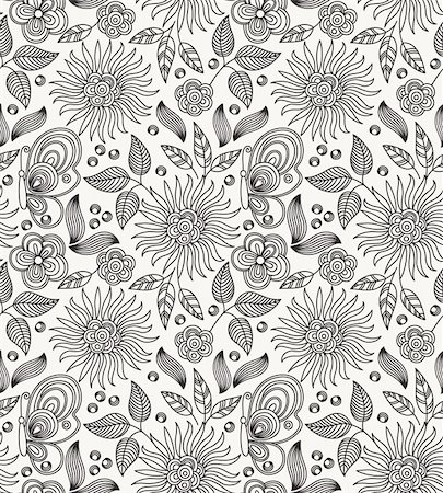 Decorative vector seamless drawing with flowers, leaves and butterflies Stock Photo - Budget Royalty-Free & Subscription, Code: 400-06387235