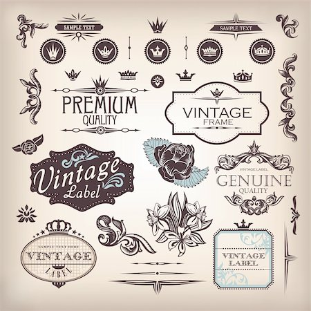 vector set of design elements and page decoration Stock Photo - Budget Royalty-Free & Subscription, Code: 400-06387255