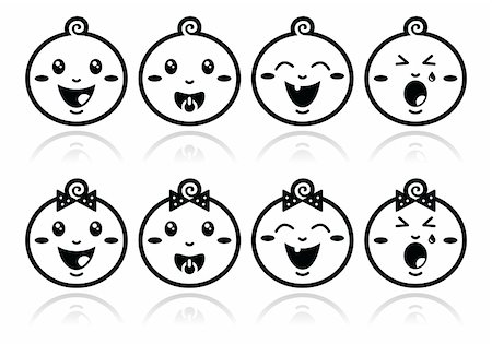 Babies cute black simple icons set with shadow Stock Photo - Budget Royalty-Free & Subscription, Code: 400-06387956