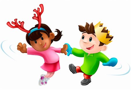 Cartoon of two children or young people in seasonal Christmas outfits having fun dancing Stock Photo - Budget Royalty-Free & Subscription, Code: 400-06387950