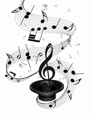 Musical notes staff background with loudspeaker. Vector illustration. Stock Photo - Budget Royalty-Free & Subscription, Code: 400-06388448