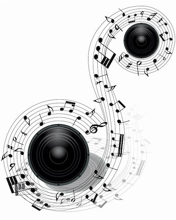 Musical notes staff background with loudspeaker. Vector illustration. Stock Photo - Budget Royalty-Free & Subscription, Code: 400-06388451