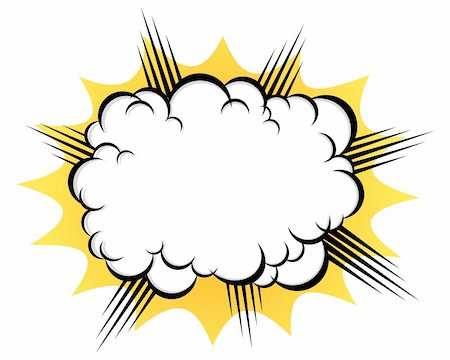 puff - cartoon cloud after the explosion over white background Stock Photo - Budget Royalty-Free & Subscription, Code: 400-06389396
