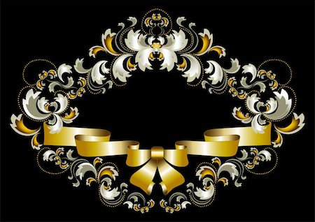 Antique frame ornament with bow and gold decoration on a black background Stock Photo - Budget Royalty-Free & Subscription, Code: 400-06383991