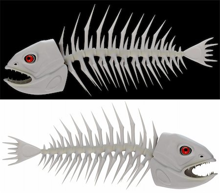 piranha fish - Bones of a skeleton of a fish in 3d Stock Photo - Budget Royalty-Free & Subscription, Code: 400-06394453