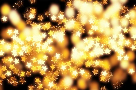 Glowing golden Christmas stars and lights on black background. Stock Photo - Budget Royalty-Free & Subscription, Code: 400-06395501