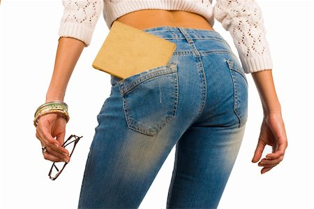 Old book in a tight fitting sexy jeans pocket Stock Photo - Budget Royalty-Free & Subscription, Code: 400-06395542