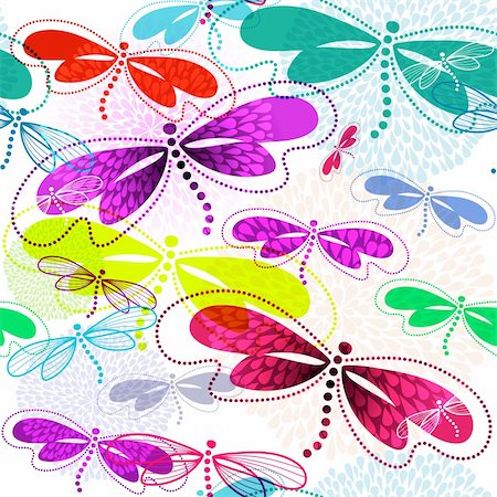 pink and purple fireworks - Seamless white pattern with vivid translucent colorful dragonflies and fireworks (vector EPS 10) Stock Photo - Budget Royalty-Free & Subscription, Code: 400-06395662