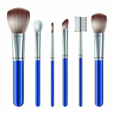 Set of makeup brushes on white background. Vector illustration Stock Photo - Budget Royalty-Free & Subscription, Code: 400-06395832