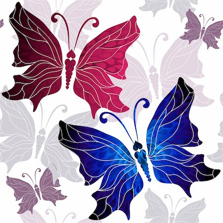 pink and purple fireworks - Seamless white pattern with vivid red, blue and gray butterflies (vector) Stock Photo - Budget Royalty-Free & Subscription, Code: 400-06395850