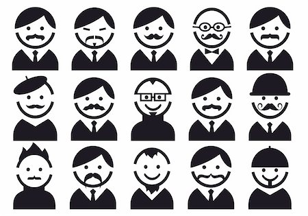 Male heads with mustaches, vector people icon set Stock Photo - Budget Royalty-Free & Subscription, Code: 400-06395918