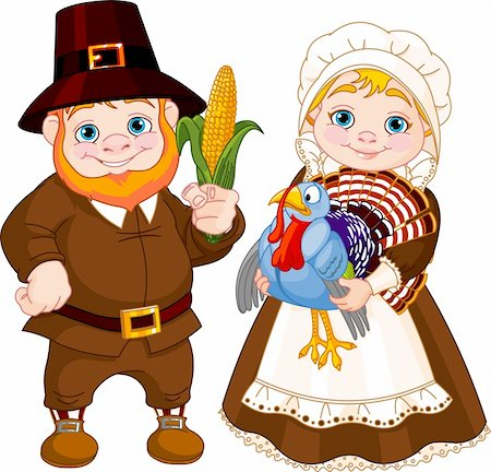 Illustration of Cute Pilgrims Couple Stock Photo - Budget Royalty-Free & Subscription, Code: 400-06396313