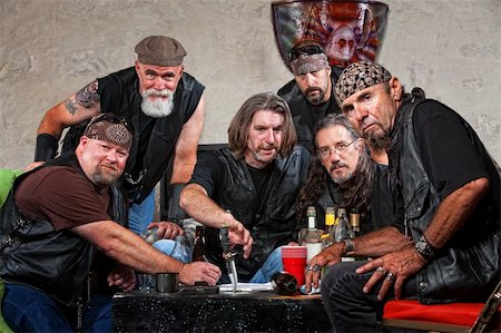 Tough group of Caucasian biker gang members with weapons Stock Photo - Budget Royalty-Free & Subscription, Code: 400-06396528