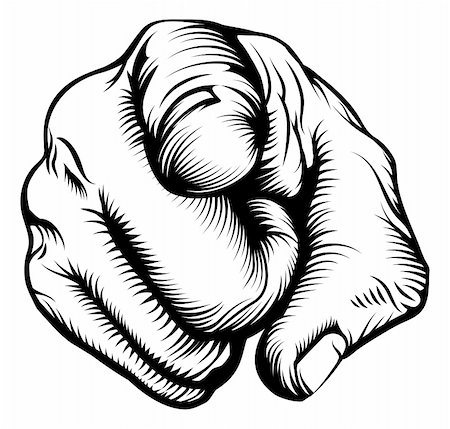 Retro black woodcut print style hand pointing finger at viewer, from front Stock Photo - Budget Royalty-Free & Subscription, Code: 400-06396562