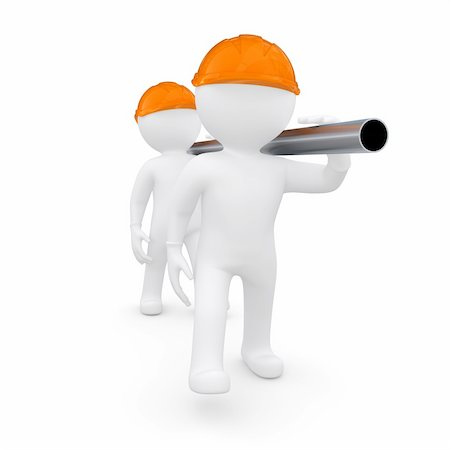 Two workers in helmets are a metal pipe. Isolated render on a white background Stock Photo - Budget Royalty-Free & Subscription, Code: 400-06397132