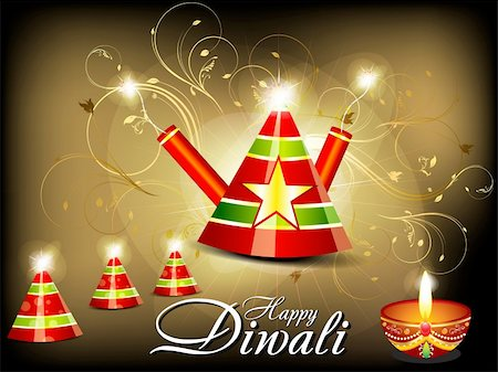 fireworks vector art - abstract diwali background with cracker vector illustration Stock Photo - Budget Royalty-Free & Subscription, Code: 400-06392765
