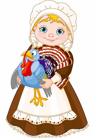 Illustration of cute Pilgrim lady with  turkey Stock Photo - Budget Royalty-Free & Subscription, Code: 400-06393295